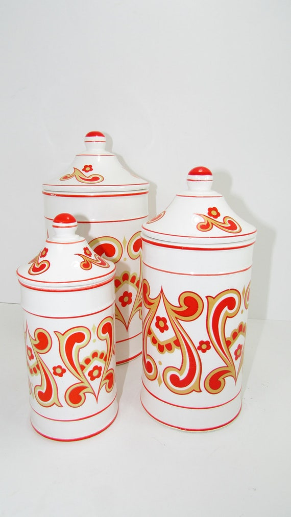 kitchen storage containers ceramic vintage set of 3 kitchen jars containers ceramic mad 6157