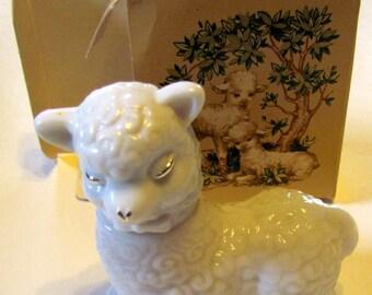 Vintage Avon Little Lamb Topaz Cologne, Decanter / Bottle Figurine, with original box, Bottle is Empty - Collectible AVON - Home Decor