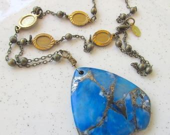 Art Deco Hipster Necklace Blue Agate & Pyrite Brass Pendant