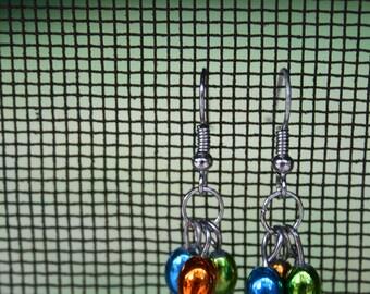 Orange, Green, and Blue Jellybean shaped Dangle EARRINGS