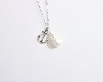 Anchor with Shell Silver Everyday Necklace with free gift box, solitaire minimalist simple tiny