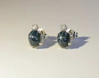 Genuine 3.5-ct Blue Star Sapphire & White Sapphire Sterling Silver Stud Earrings