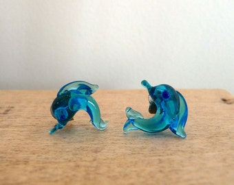 Vintage Hand Crafted Murano Glass earrings. Blue earrings. 1980
