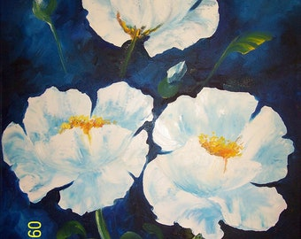 Original Oil Painting Of Three White Flowers