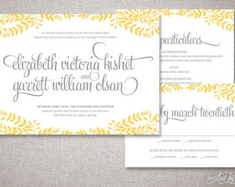 "Floral Frame ""Elizabeth"" Wedding Invitations Suite - Rustic Calligraphy Shabby Chic Invite - Custom Digital Printable or Printed Invitation"