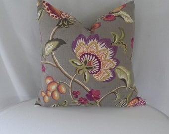 Purple and Orange Jacobean Floral Pattern Kravet Pillow Cover