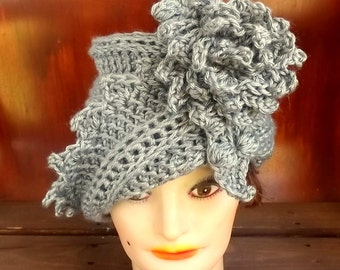 50th Birthday Gift for Women,  Gray Crochet Hat,  Womens Hat Trendy,  Gray Hat,  African Hat,  Lauren 1920s Cloche Hat Crochet Flower