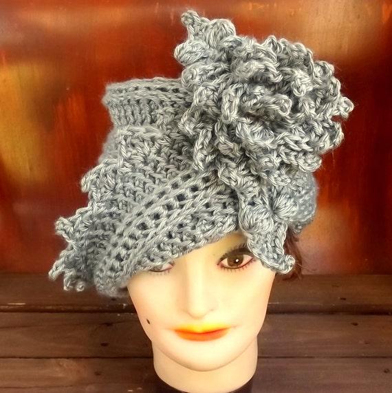 50th Birthday Gift for Women, Gray Crochet Hat, Womens Hat Trendy, Gray Hat, African Hat, LAUREN 1920s Cloche Hat Crochet Flower