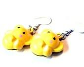 Sale Save 10% Brass Bell Earrings -- Yellow Elephants on Parade Earrings -- Kawaii Jewelry
