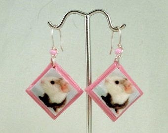 Bubblegum Pink BABY GUINEA PIG Photo Earrings - Wire Wrapped Polymer Clay & Glass