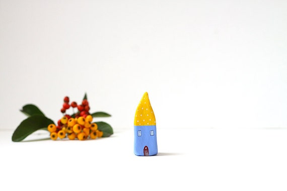 Little Home No 216 -  Little autumn clay house - yellow and light blue violet  with tiny polka dots