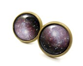 Glitter Galaxy Stud Earrings,Astronomy Jewelry,Space Earrings,Purple Nebula Post Earrings,Astronomy Gifts,Planet Jewelry (E138)