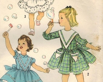 1950s Simplicity 2606 Vintage Sewing Pattern Girl's Party Dress, Full Skirt Dress Size 5