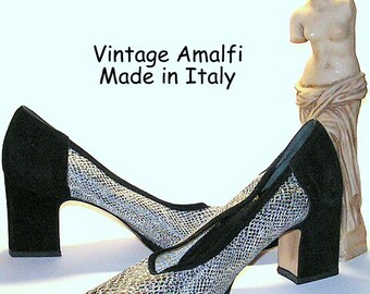 Vintage Amalfi Shoes Black Suede Leather Silver Snake Print Mod