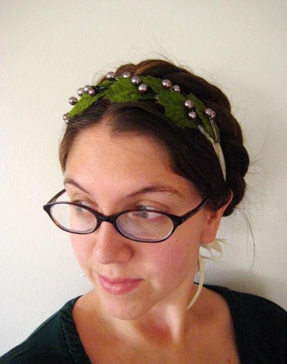 Holly Crown Headband - Winterberry - Velvet Ribbon Ties - ON SALE