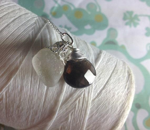The Odd Couple - white sea glass necklace/ smokey quartz necklace / quartz necklace / sea glass necklace / seaglass jewelry / quartz pendant