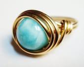 Larimar Ring   Larimar Gemstone   14K Gold Filled Ring    Wire Wrapped Ring   Larimar Jewelry   Gold Ring