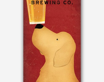 Custom Personalized GOLDEN RETRIEVER Brewing Company -  Craft Beer - Custom CANVAS Wall Art Signed