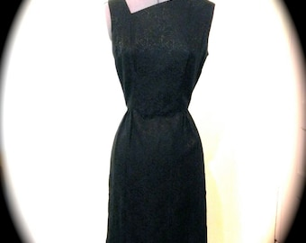 Unique Vintage 1950s Dress - 50s Wiggle Dress with Asymmetrical Neckline and Peek-a-Boo Back - Black Rose Dress - on sale