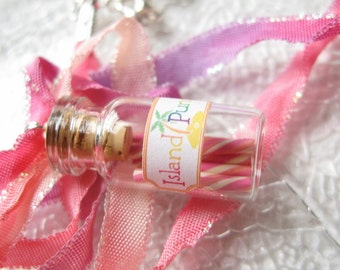Island Punch - Handmade Candy Jar Necklace - Pink, Orange, Yellow Swirl - Bottle Necklace