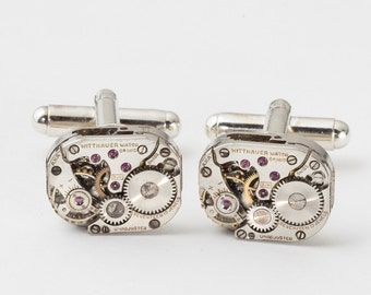 Steampunk Cuff Links Wittnauer Watch Movements Wedding Anniversary, Grooms Gift Vintage Silver Watch CuffLinks Formal Wear Mens Jewelry 2895