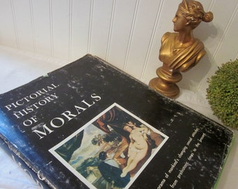 vintage Pictorial History of Morals, Philosophical Library (c) 1963. Harry E. Wedeck. Nudes. Risque oversized art HCDJ coffee table book