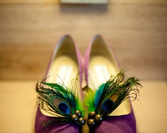 Shoe Clips Peacock & Turquoise Lime Green Rooster Feathers. Plume Paon Pfau Pavoreal, Metallics Bronze Teal Purple Couture, Bridesmaid Bride