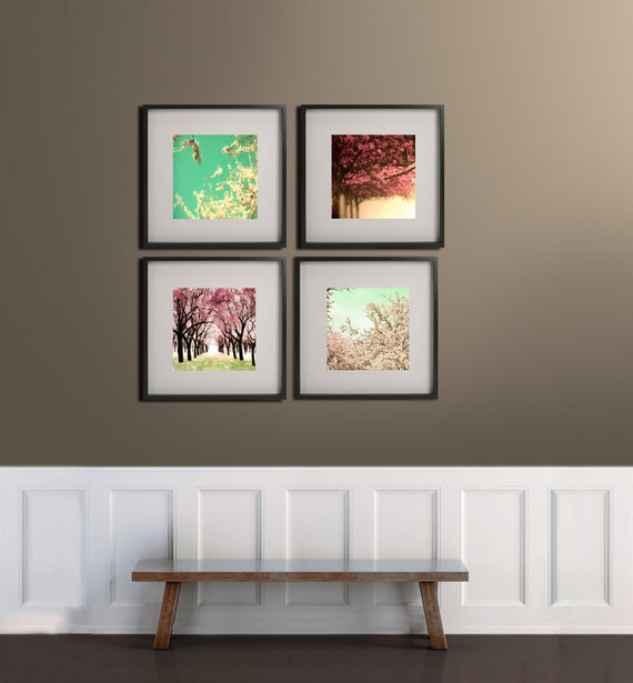 SALE, Cherry Tree Photography, Pink, Mint, Girl Nursery Decor, Bedroom Wall Art, Set of 4 Prints, Pastel Decor