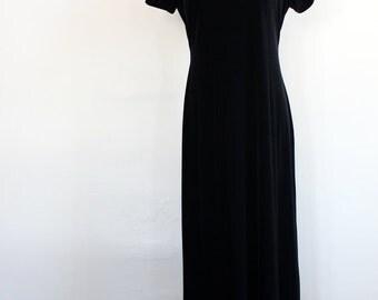 SALE crushed black velvet vintage gown // sequin collar dress
