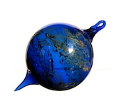 Hand Blown Glass Ornament, Cobalt Blue with Silver and Gold