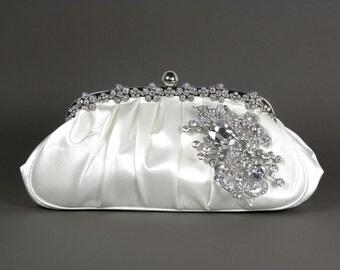 White Satin Bridal Clutch, WeddingClutch Purse, Vintage Style Bridal Clutch, Rhinestone Clutch,