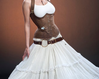 Meschantes Steampunk Distressed Vegan Leather Weskit Corset - Your Size
