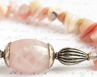 Pink Opal Bracelet Rose Quartz Bracelet Gift idea for women Gift for her Antique Silver Genuine Gemstone Bracelet Natural Stone Bracelet