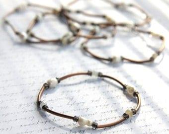 Summer Party Gift Minimal Bracelet Bohemian Jewelry Copper Tube Bracelet Amazonite or Pearl Bracelet Layering Bracelet Tribal Antiqued
