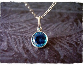 Blue Aquamarine Crystal Necklace - Sterling Silver Aquamarine Crystal Charm on a Delicate Sterling Silver Cable Chain or Charm Only