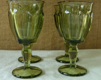 4 VINTAGE GREEN Virginia Glasses - USA Cordial Drinking Glasses Stemmed Small Wine Glasses Vintage Bar Well Stocked Bar Heavy Quality Glass