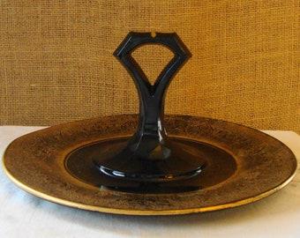 VINTAGE BLACK & GOLD Depression Glass Server Romantic Gothic Black Glass And Gold