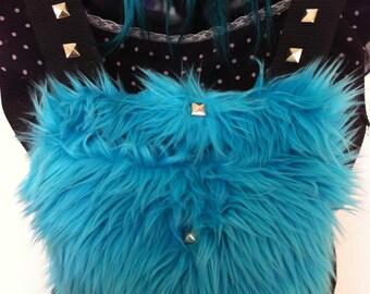 Furry Backpack - Blue