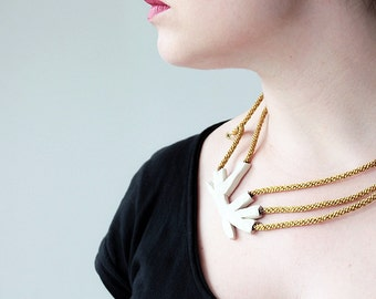 Rope Statement Necklace- Chunky Rope Necklace-Mustard Yellow with Tree Branch- egst