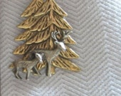 Deer and Fawn in Woods Pin - Antique Silver with Antique Gold Two Tone - Studio BZ Original