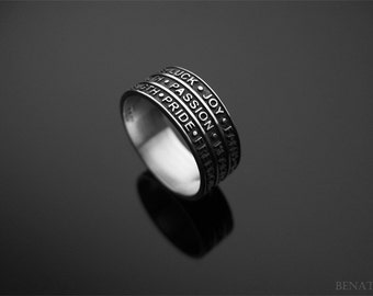 Words ring in silver, Words for life ring, Words have power ring, Inspirational powerful words, New designer silver ring, Friendship ring