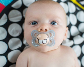 Cute Buck Teeth Custom Hand Painted size 0-6 Month Blue MAM Pacifier by PiquantDesigns
