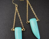 Boho Chic Turquoise Tusk Spike with Gold Accent Beads and Gold Chain