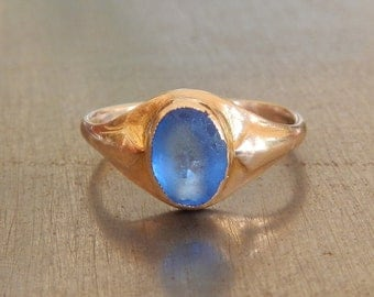 Art Nouveau Ring - 1910s Vintage Ring - Stacking Ring - Right Hand Ring-Electric Blue-Sea Glass-Periwinkle-