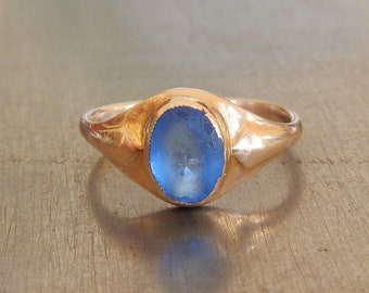 Art Nouveau Ring - Blue Stone and Gold Ring from Arts & Crafts Era - 1910s Vintage Ring - Stacking Ring - Right Hand Ring