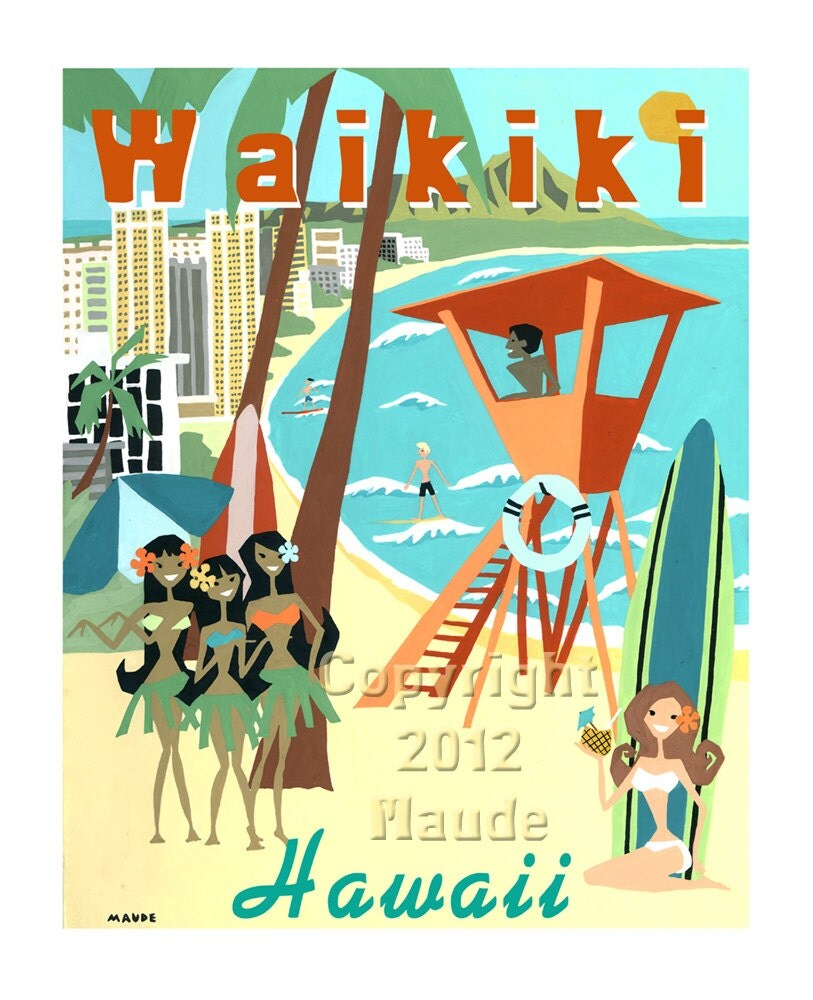 waikiki beach hawaii mid century modern art print poster by midcenturymaude etsy. Black Bedroom Furniture Sets. Home Design Ideas