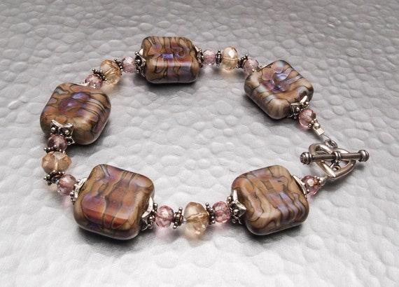 Beaded Lampwork Bracelet - Irridescent Earth - SRA Artist