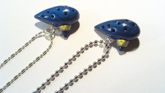 Legend of Zelda Ocarina Necklace - Dark Pearl blue