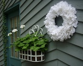 "WHITE SUMMER WREATH, White Linen Wreath, Shabby Chic Wreath, 16"" Rag Wreath, Available in White or Ivory Linen"