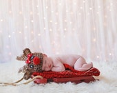 Ready to Ship Baby Reindeer hat w BOW beanie great photo prop or gift for Christmas